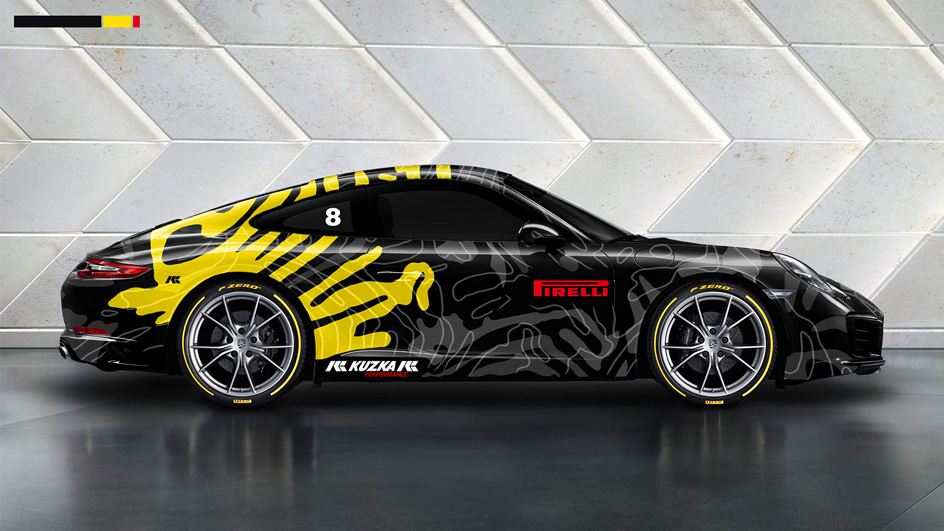 Edgy and Cheesy Porsche Art Car Design Illustration